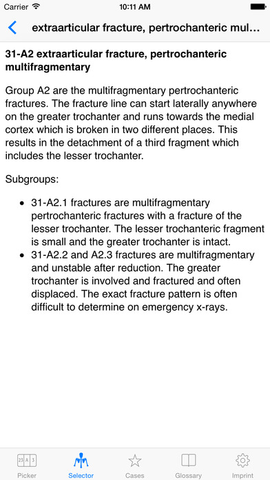 Müller AO Classification of Fractures - Long Bones iPhone Screenshot 5