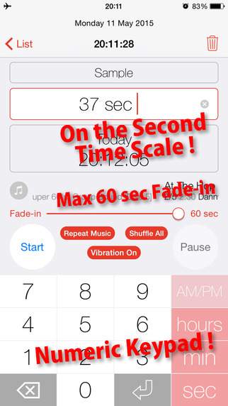 Music Seconds Timer