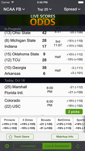 Live Scores Odds - Sports Scores Stats Betting Lines and Picks