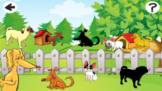 Awesome doggies Shadow Game to Play and Learn for Children