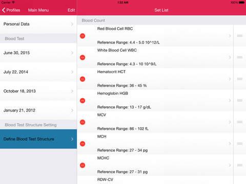 My Blood Test for iPad iPad Screenshot 5