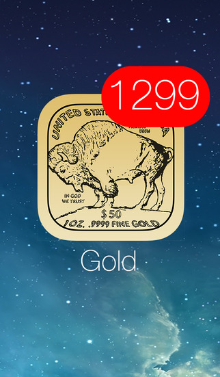 Gold Price Watch - live spot price on a troy ounce bullion coin icon w charts push notifications cus