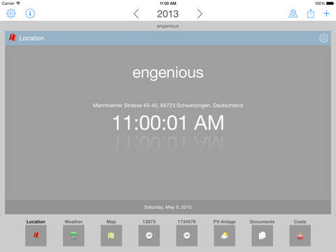 Energy-costs and meter readings for iPad