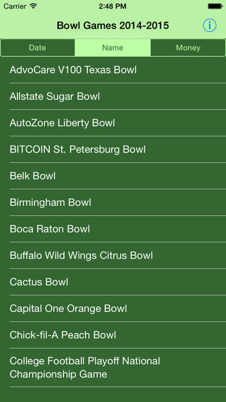 2014-2015 Bowl Games Schedule