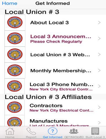 Screenshot of Local 3 IBEW App