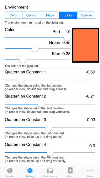 Quaternion Julia Raytracer iPhone Screenshot 2