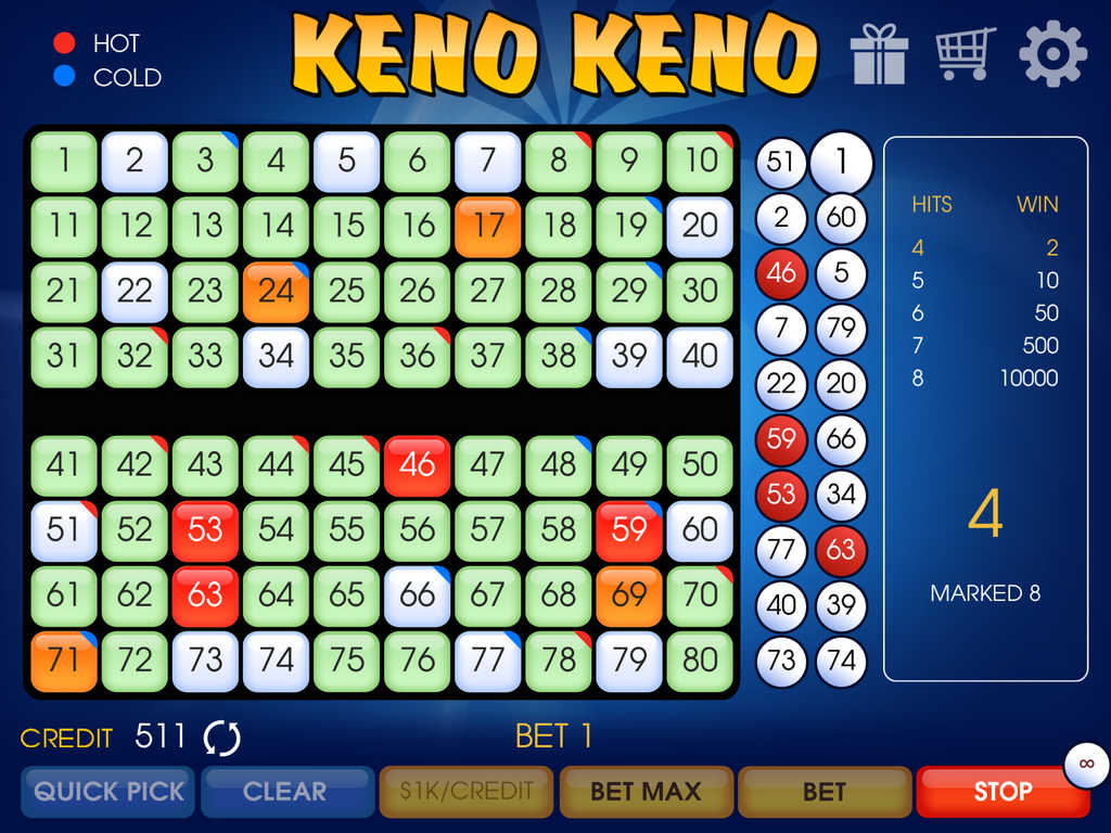 Keno cold numbers