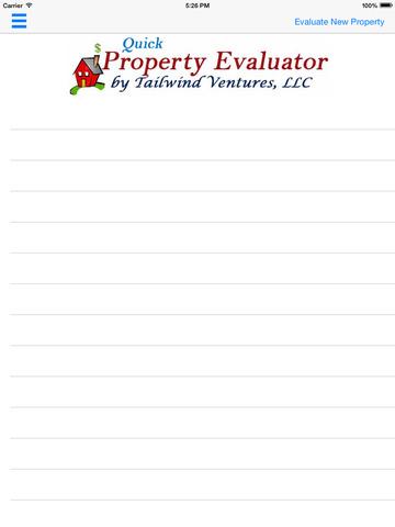 Quick Property Evaluator for iPad
