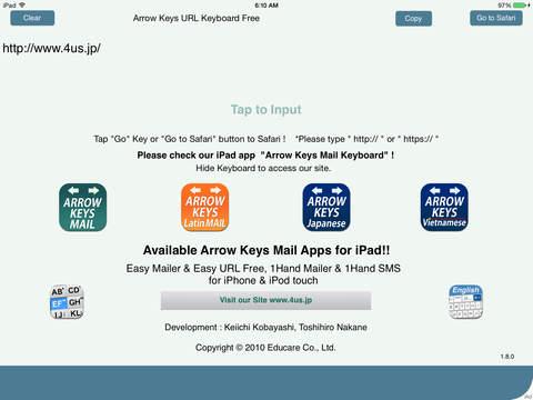 Arrow Keys URL Keyboard Free iPad Screenshot 2