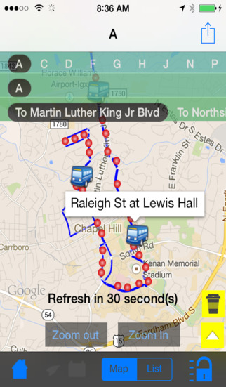 Chapel Hill Instant Route and Bus Finder +Coffee Ship + Street View
