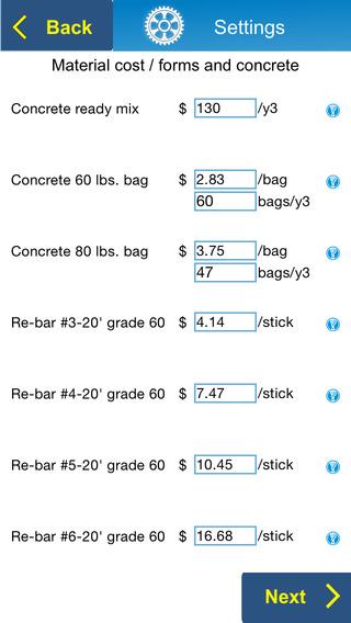 Concrete foundation estimator for ios estimate bid on for Concrete basement cost estimator