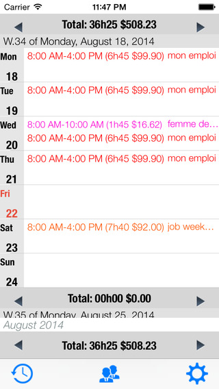 my working time lite iPhone Screenshot 2
