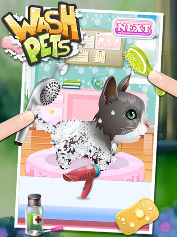 Wash Pets - virtual pet fun spa fasion food kids games for boys girlsscreeshot 1