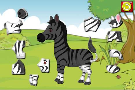 孩子们动物园动物拼图形状-教育幼儿游戏教选配适合幼儿和前学校男孩