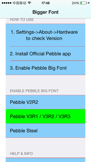 Bigger Font Size for Pebble Smartwatch