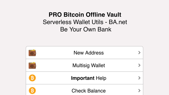 PRO Bitcoin Offline Vault for iPhone - BA.net