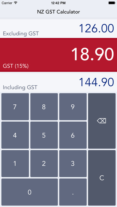 NZ GST Calculator iPhone Screenshot 2