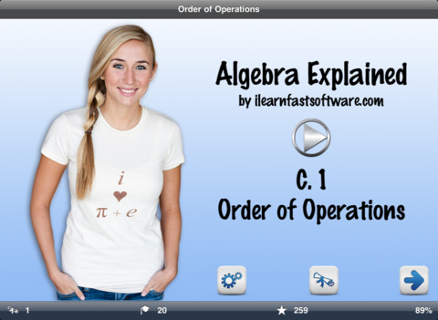 Algebra Explained c. 1 Order of Operations LITE iPad Screenshot 1