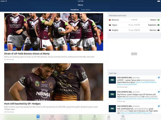 NRL Rugby League Live HD 2011 iPad Screenshot 1
