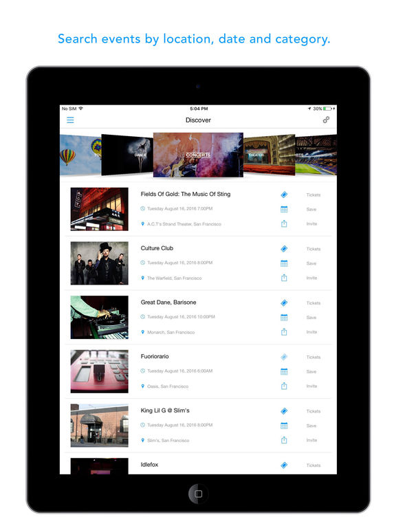 eventseeker - events, concerts & sports screenshot