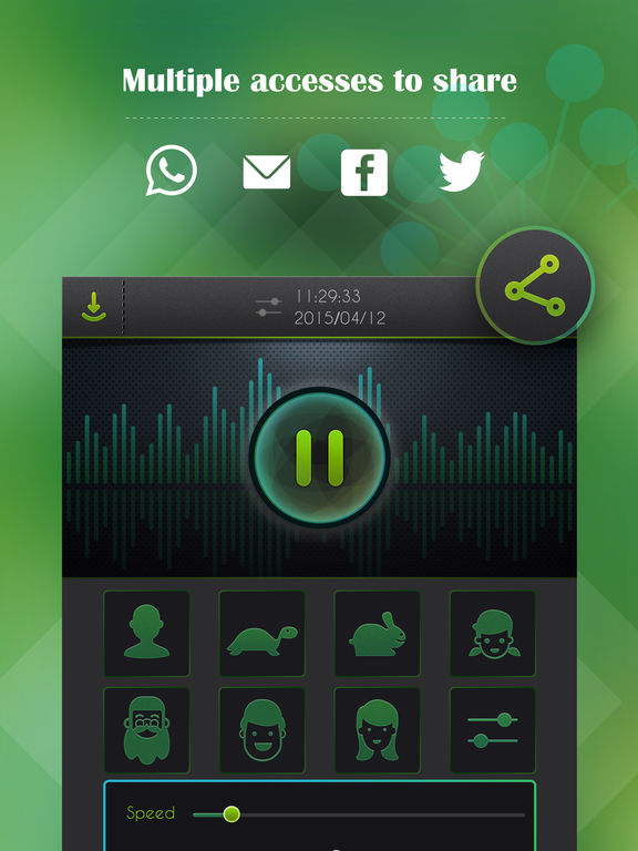 Screenshots of Voice Changer, Recorder plus Player for iPad