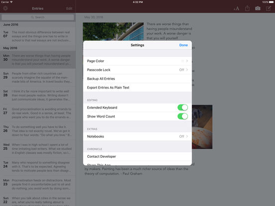 Chronicle for iPad - A personal journal iPad Screenshot 2