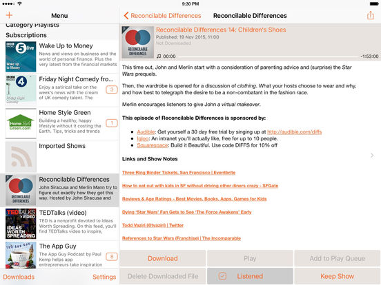 RSSRadio Premium Podcast Downloader App Screenshots