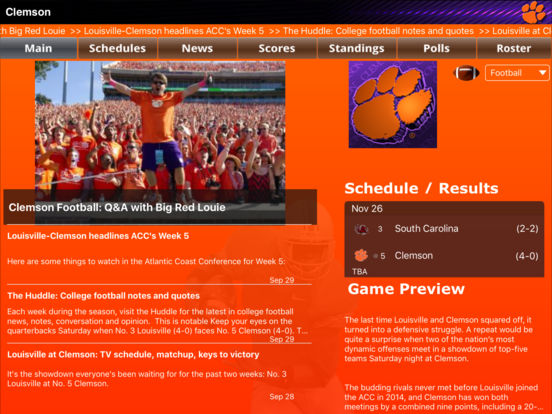 Clemson Tigers College SuperFans iPad Screenshot 1