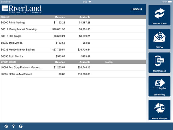 RiverLand Credit Union Mobile iPad Screenshot 1