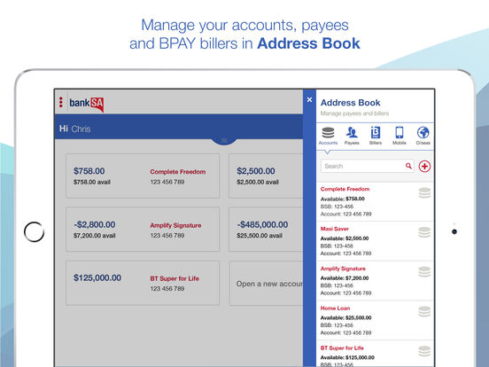 BankSA Banking Application for iPad iPad Screenshot 3