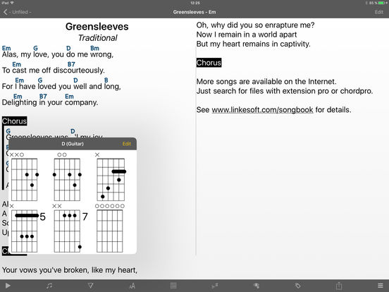SongBook Chordpro iPad Screenshot 1