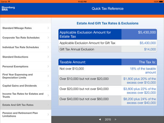 BNA Quick Tax Reference iPad Screenshot 4