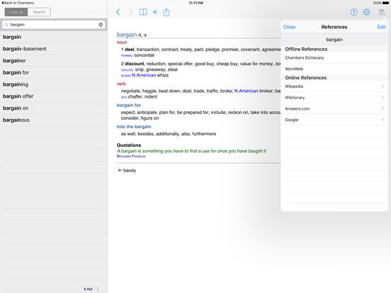 Chambers Thesaurus iPad Screenshot 2