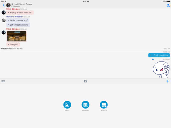 Screenshots of BBM for iPad