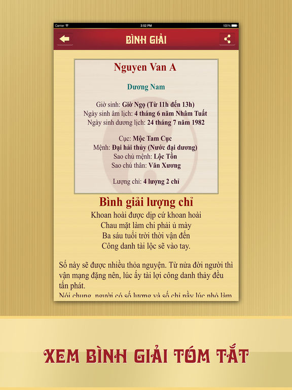 Screenshots of Lá Số Tử Vi for iPad