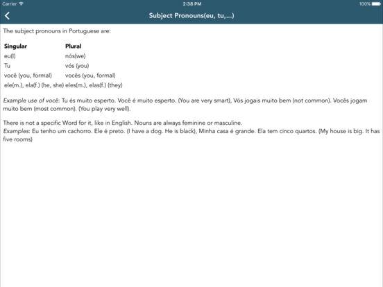 Portuguese Class iPad Screenshot 2