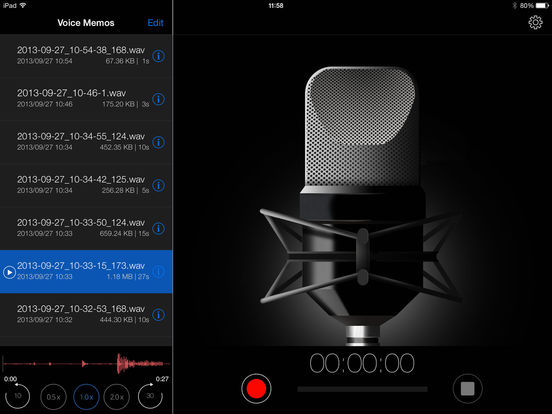 Voice Recorder HD iPad Screenshot 2