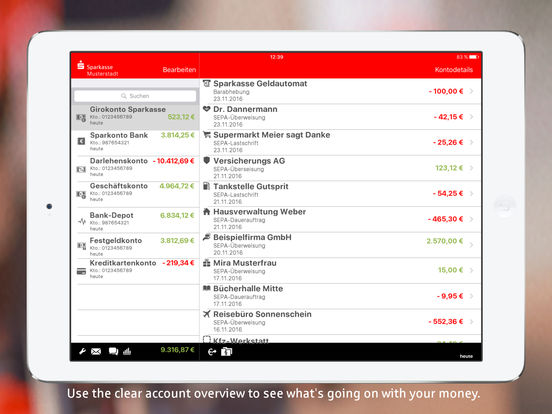 Sparkasse+ for iPad Screenshots