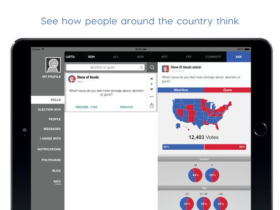 Show of Hands: Ask & Answer Polls, Politics & More screenshot