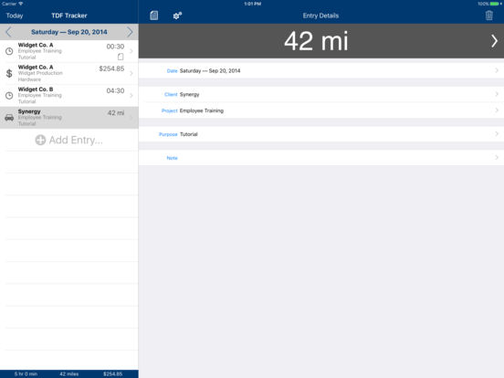 TDF Tracker – Time, Expense and Mileage Tracking iPad Screenshot 4