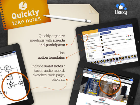 Beesy - Meeting notes with To-Do list and Projects Screenshots