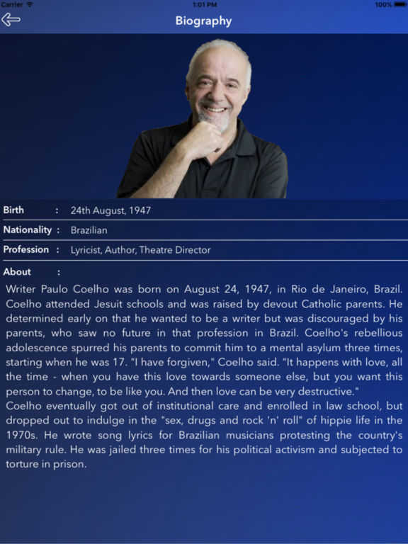 a biography of paulo coelho Paulo coelho annual net worth 2018, salary, biography, houses, other investments, and his luxury cars collection how much paulo coelho earns per year.