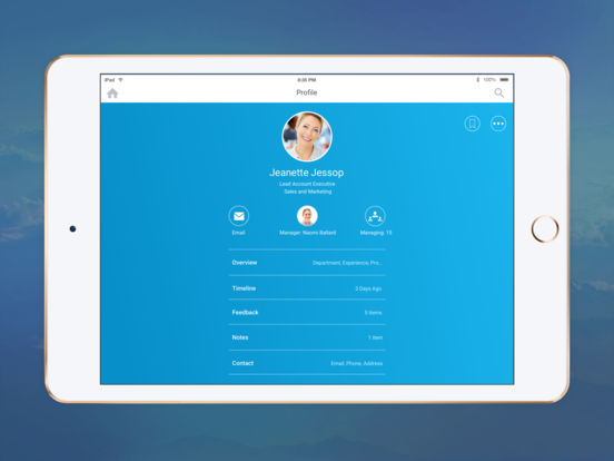 Screenshots of Workday for iPad