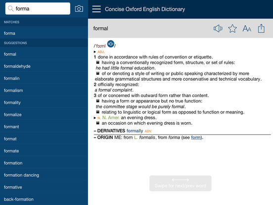 Concise Oxford English Dictionary with Audio Screenshots