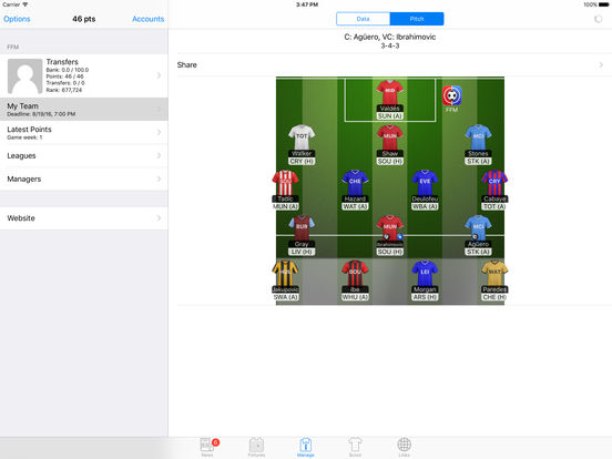 Fantasy Football Manager (FFM) iPad Screenshot 1