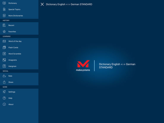 PONS Standard Dictionary English <-> German iPad Screenshot 1