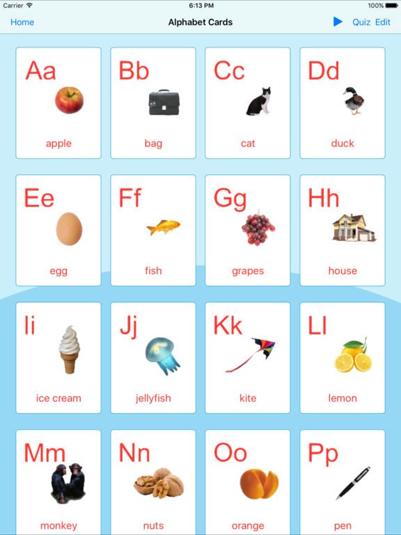 English Alphabet. Learning Cards And Quiz Screenshots