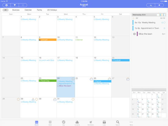 Extreme Agenda - Calendar, Contacts, Reminders, Lists, & Notes screenshot