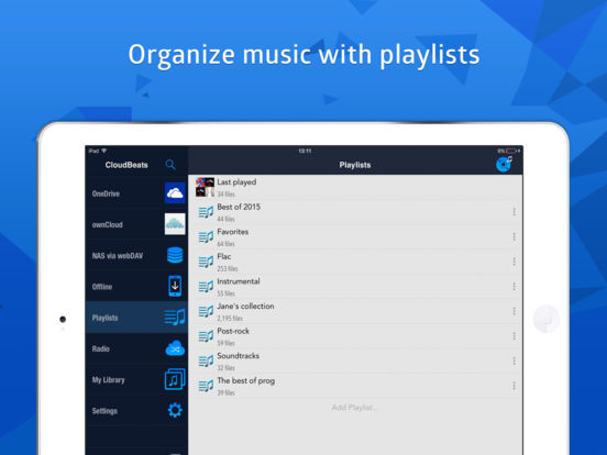 CloudBeats: mp3 music player for Dropbox, Onedrive Screenshots