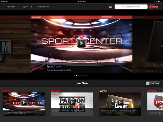 Screenshots of WatchESPN for iPad